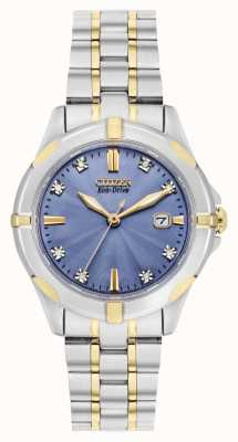 Citizen Zweifarbiges Damen Eco-Drive Sport Diamond Blue Zifferblatt EW1936-53L