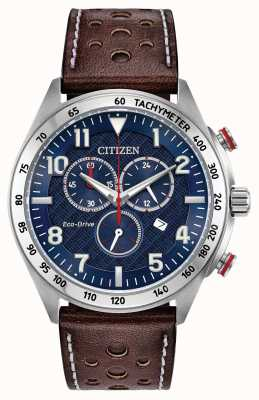 Citizen Herren Eco-Drive blaues Zifferblatt braun Leder Chrono 100m AT2418-00L