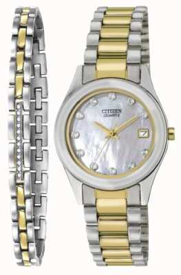 Citizen Damen Quarz Perlmutt Uhr & Armband Set EU2664-59D-SETR
