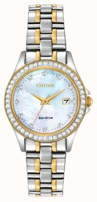 Citizen Frauen Eco-Drive-zwei-Ton-Kristall-Set EW1844-50Y