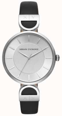 Armani Exchange Brooke Damen schwarzes Lederarmband silbernes Zifferblatt AX5323