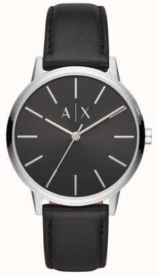 Armani Exchange Cayde Herren schwarzes Lederarmband schwarzes Zifferblatt AX2703