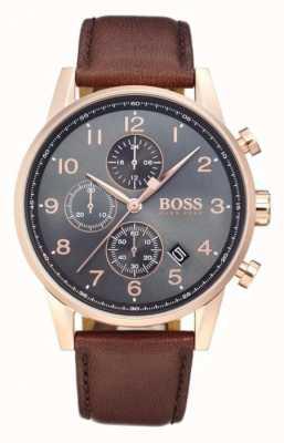 Boss Navigator Chronograph Datumsanzeige schwarzes Zifferblatt braunes Leder 1513496