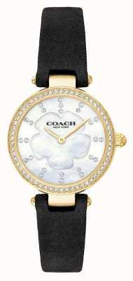 Coach Moderner Luxus schwarzer Lederarmband Damen aus Perlmutt 14503103