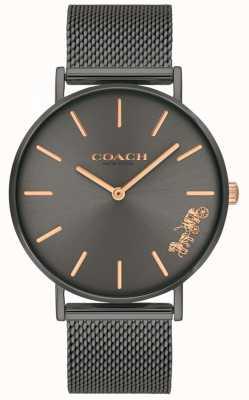 Coach Womens Perry grau ip Stahlgitterarmbanduhr 14503127