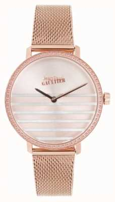 Jean Paul Gaultier Glam Navy Womens Roségold Ton Mesh Armbanduhr JP8505601