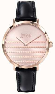 Jean Paul Gaultier Glam navy Damenuhr aus schwarzem Lederarmband JP8505605