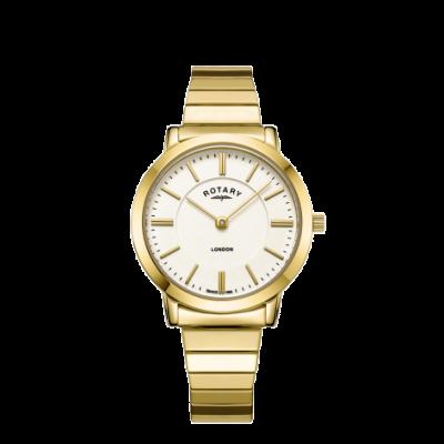 Rotary Womens London Gold Edelstahl expandierende Armbanduhr LB00766/03