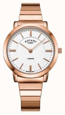 Rotary Womens London Roségold Stahl Armbanduhr erweitert LB00767/02