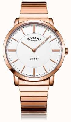Rotary Erweiterungsarmbanduhr aus London für Roségold aus Stahl GB02767/02