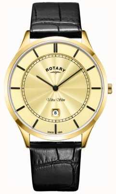 Rotary Ultradünnes gold schwarzes Herrenarmband GS08413/03