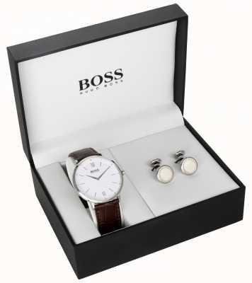 Hugo Boss Mens braunes Leder weißes Zifferblatt Manschettenknopf Geschenkset 1570069