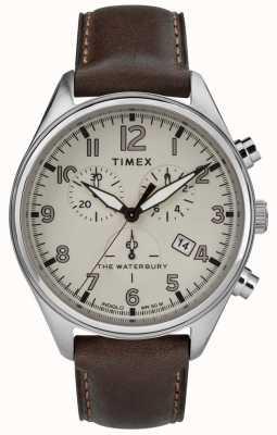 Timex Herren braunbraunes Leder des Waterbury traditionellen Tan Chrono TW2R88200