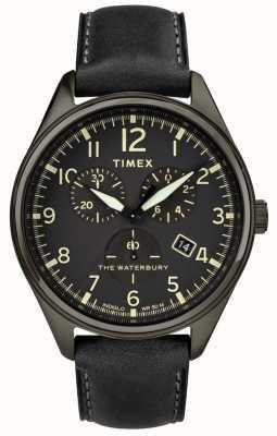 Timex Traditionelles schwarzes schwarzes Chrono Schwarzes Leder der Männer Waterbury TW2R88400