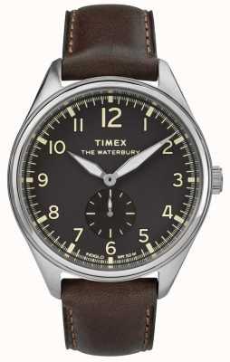 Timex Traditionelles schwarzes Unterzifferbraunleder des Mannes Waterbury TW2R88800