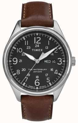 Timex Traditionelles Tagesdatum der Männer Waterbury schwarzes Braun TW2R89000