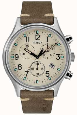 Timex Mk1 sst Herren Chrono 42mm Gehäuse braunes Lederarmband TW2R96400