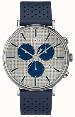 Timex Mens Fairfield Chrono Supernova blaues Band silbernes Zifferblatt TW2R97700