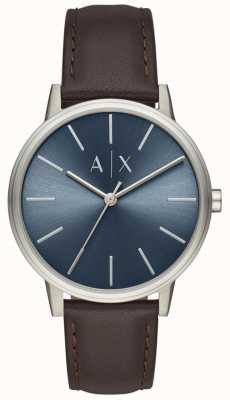 Armani Exchange Herrenuhr braunes Lederarmband blaues Zifferblatt AX2704