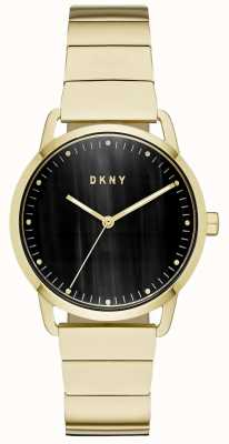 DKNY Damenuhr mit schwarzem Zifferblatt und goldenem Armband NY2756