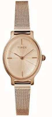 Timex Damen Milano Oval Rose Gold Mesh Uhr TW2R94300D7PF