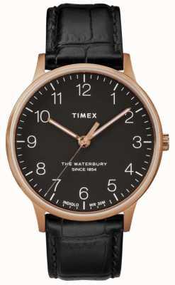 Timex Waterbury Mens klassische Roségold Uhr schwarzes Lederarmband TW2R96000