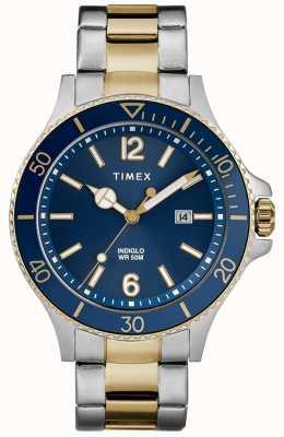 Timex Herren-Portemonnaie aus zweifarbigem Silber und Gold mit blauem Zifferblatt TW2R64700D7PF