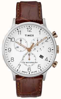Timex Herren Waterbury Chronograph Uhr weißes Zifferblatt TW2R72100D7PF