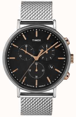 Timex Fairfield Chronograph silberfarbene Uhr mit schwarzem Zifferblatt TW2T11400D7PF