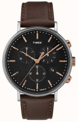 Timex Fairfield Chronograph braun Armband schwarzes Zifferblatt TW2T11500D7PF