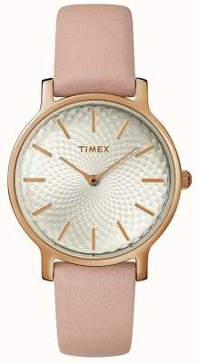 Timex Damen Metropolitan Lederband Uhr Silber Roségold TW2R85200D7PF