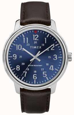 Timex Herrenuhr aus braunem Leder mit blauem Zifferblatt TW2R85400