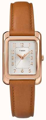 Timex Damen Tan Lederband silberfarbenes Zifferblatt TW2R89500D7PF