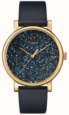 Timex Blaue Damenuhr aus Leder mit Swarovski-Kristallen TW2R98100D7PF