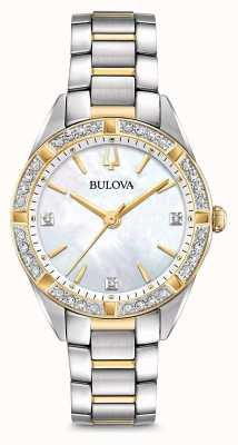 Bulova Damenuhr mit zweifarbigen Diamanten 98R263