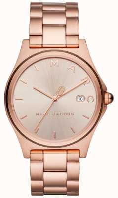 Marc Jacobs Rosafarbener Goldton der Frauen henry Uhr MJ3585