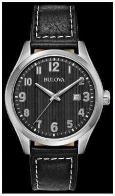 Bulova Herrenuhr schwarzes Zifferblatt schwarzes Lederarmband 96B299
