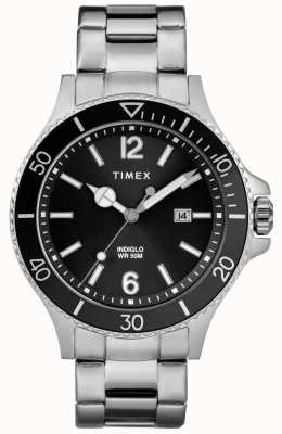 Timex Mens Harbourside Edelstahlarmband schwarzes Zifferblatt TW2R64600