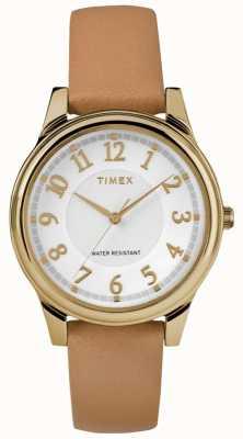 Timex Klassisches Armband aus braunem Leder mit silberfarbenem Zifferblatt und Goldton TW2R87000