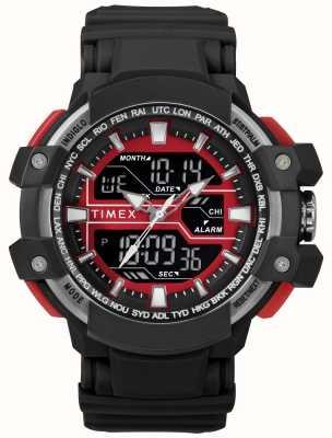 Timex Herren 50mm schwarzes Gehäuse mit rotem schwarzen Akzentband TW5M22700