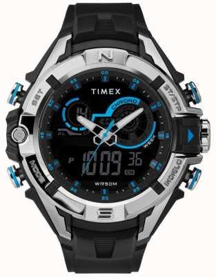 Timex Mens 47mm schwarzes Gehäuse Chromring schwarzes Band TW5M23000
