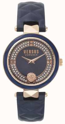 Versus Versace Womens Covent Garden blaues Lederband blauen Stein gesetzt Zifferblatt SPCD280017