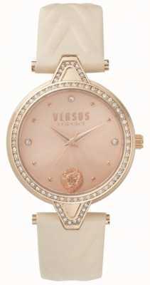 Versus Versace Womens V versus Stein Set Roségold Zifferblatt rosa Lederarmband SPCI330017
