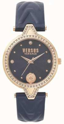 Versus Versace Womens V vs. Stone Set blau Zifferblatt blau Lederarmband SPCI340017