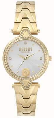 Versus Versace Womens V gegen Stein gesetzt Gold Zifferblatt Gold PVD Armband SPCI350017
