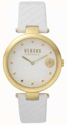 Versus Versace Damen Büffelleder weißes Zifferblatt weißes Lederband SP87020018