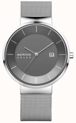 Bering Herren-Solaruhr, Silbergehäuse, Edelstahl-Mesh-Armband 14639-309