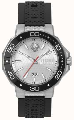 Versus Versace Mens kalk bay silbernes Zifferblatt schwarzes Silikonarmband vSP05010018