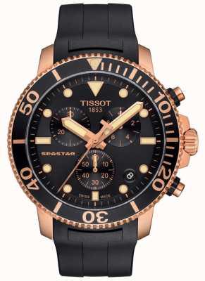 Tissot Herren Seastar 1000 Quarz Chronograph schwarz / gold / Kautschukband T1204173705100
