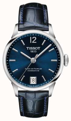 Tissot Chemin des Tourelles blaues Lederarmband blaues Zifferblatt T0992071604700